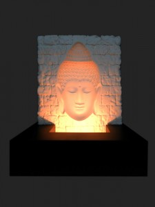 Buddha Ivory Base Relief Black MDF