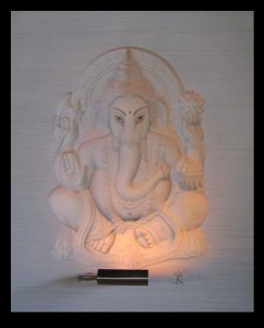 Ganesha White Panel With Stone effect