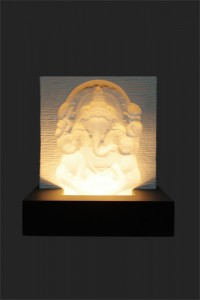 Ganesha Ivory Base Relief - Black MDF