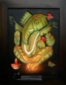 Ganesha Banana Leaf ABR Antique Wood Frame