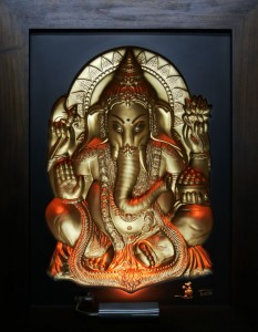 Ganesha Gold Antique Wood Frame