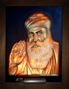 Guru Nanak Gold Antique Wood Frame