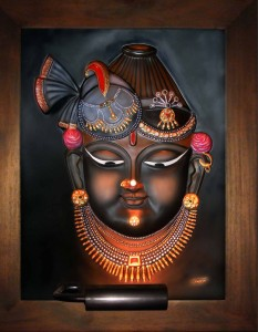 Shri Nathji Head Only ABR Large Antique Wood Frame Large