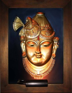 Shri Nathji Head Only Gold Antique Wood Frame Large