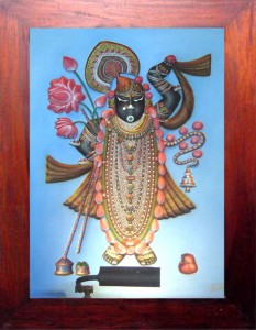 Shrinathji ABR Blue Background Antique Wood Frame
